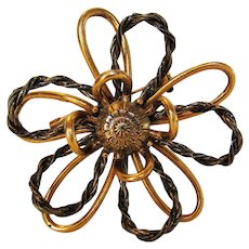 Vintage Art Modernist Mixed Metal Brooch in Floral Design