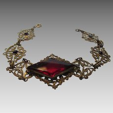 Vintage Goldtone Filagree Bracelet With Faux Ruby Crystal Accents