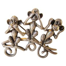 Vintage Danecraft Pewter See No Hear No Speak No Evil Monkey Pin
