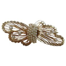 Vintage Hattie Carnegie Mid Century Pin in Goldtones and Faux Pearl Accents