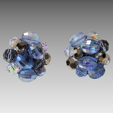 Vintage Signed Schiaparelli Blue Hue Clip Earrings With Blue Aurora Borealis Crystals