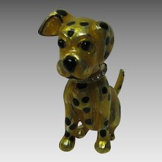 Carolee Gold and black Spotted Dog with Rhinestone Collar Pin