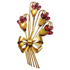 Sterling Silver Gold Wash Floral Bouquet With Pink Crystal Flowers