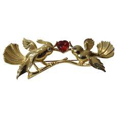 Vintage MJent  Goldtone Lovebirds on a Branch With Large Faux Garnet Heart Accent