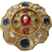 Vintage Accessocraft Signed Goldtone Pin or Pendant With a Variety of Faux Gemstones