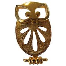 Vintage Goldtone Eisenberg Owl Pendant