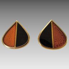 Yves St. Laurent Goldtone Pierced Earrings Enamelled in Black and Brown