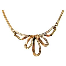 Vintage 1960's Trifari Goldtone Necklace With Central Focal of Baguette Crystals