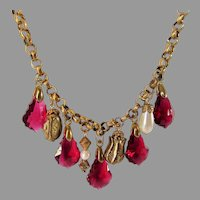 Vintage Book Chain Necklace With Faux Ruby Crystals and Faux Pearl and Goldtone Spacers