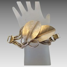 Vintage Statement Napier Goldtone Modernist Floral Bracelet