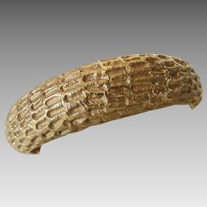 Vintage Hattie Carnegie Goldtone Textured Oval Bangle