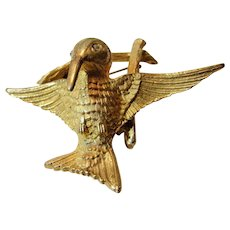 Vintage Goldtone Tremblant Bird on a Branch Pin