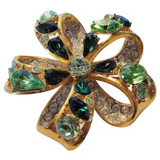 Vintage Signed Nolan Miller Bejewelled Bow Pin in Shades of Green