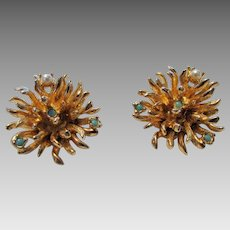 Vintage Signed Schrager Goldtone Clip Earrings With Faux Pearl and Faux Turquoise Accents