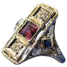 14 Karat White Gold Deco Ring With Natural Ruby and Diamonds With Sapphire Accents