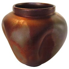 Art Pottery Early Dimpled Vase in Red Brown Attributed to Messier