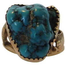 14 Karat Yellow Gold and Turquoise Ring Signed Native American