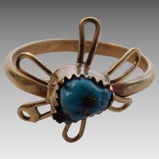 14 Karat Yellow Gold Turquoise Ring in Unique Design