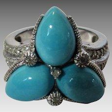 10 Karat White Gold Turquoise Diamond Ring