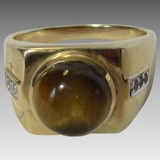 14 Karat Yellow Gold Catseye and Diamond Men's Ring