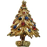 Vintage Art Goldtone Christmas Tree Pin With Blue Green and Red Ornaments