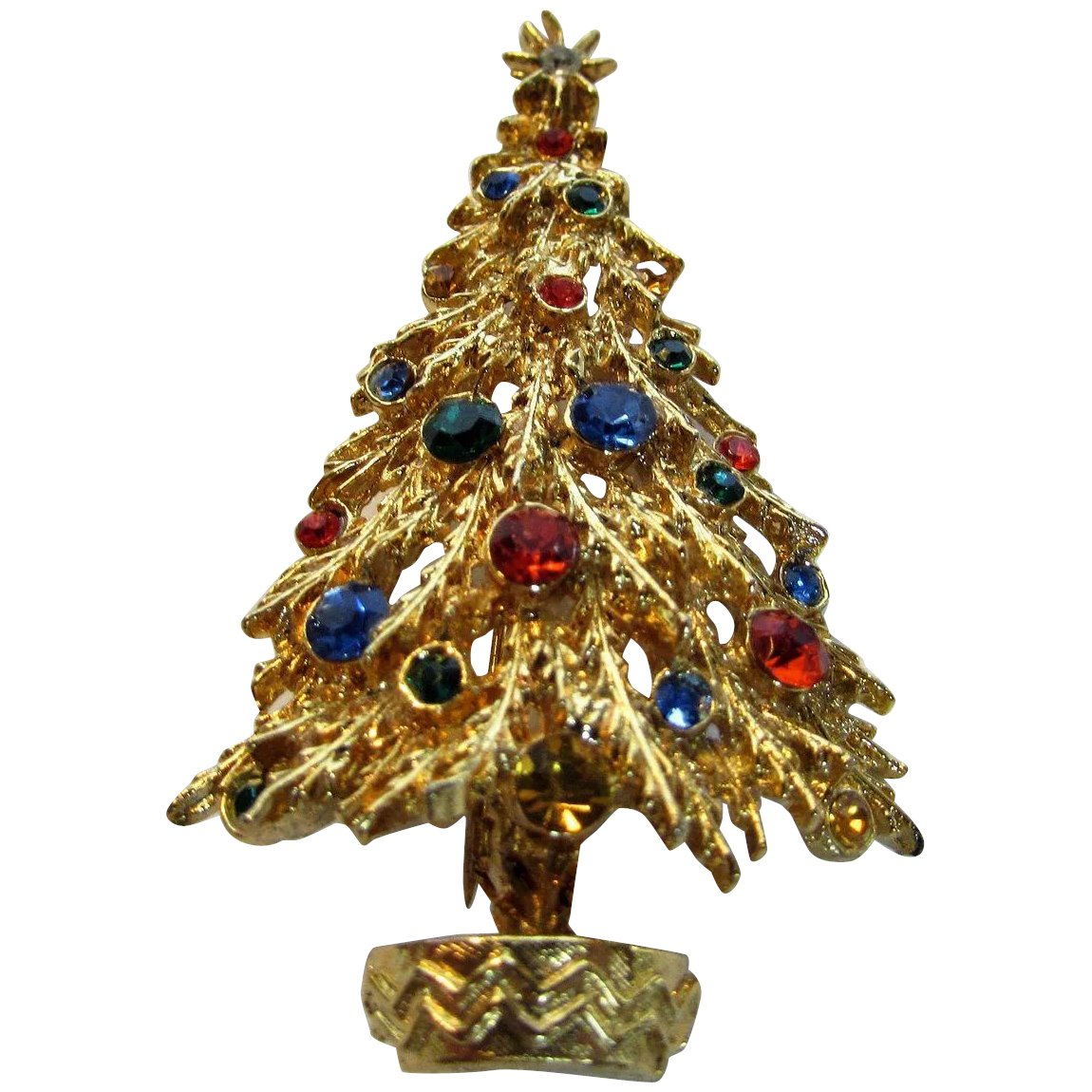 Vintage Art Goldtone Christmas Tree Pin With Blue Green And Red Style And Grace Ruby Lane