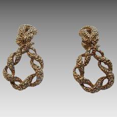 Vintage Panetta Goldtone Clip On Textured Earrings