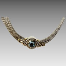 Sterling Silver and 18 Karat Blue Topaz Double Chain Choker