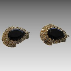 Vintage Ciner Clip On Earrings With Faux Onyx Surrounded by Clear Crystals