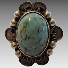 Sterling Silver Mexican Turquoise Ring Artist Signed