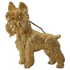 Vintage Signed Crown Trifari Goldtone Dog Pin