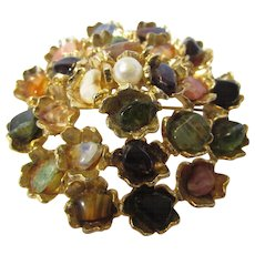 Vintage Goldtone Mid Century Pin With a Variety of Art Glass Accents and Faux Pearls