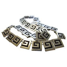 Sterling Silver Taxco Panel Necklace in Modified Greek Key Design
