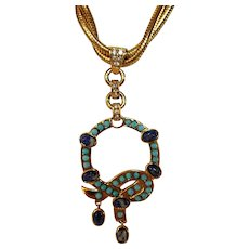 Vintage Modernist Goldtone Snake Necklace With Featuring Lapis and Turquoise Accents