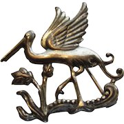 Sterling Silver 1940's Coro Heron Pin