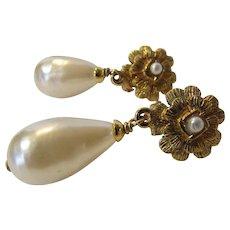 Chanel Made in France Goldtone Clip Faux Pearl Earrings