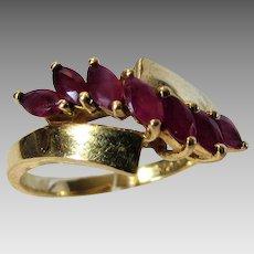 14 Karat Yellow Gold Ruby Modernist Ring