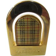 Vintage Burberry Logo Belt Buckle In Goldtone and Signature Plaid