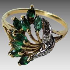 10 Karat Yellow Gold Emerald and Diamond Ring