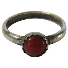 Sterling Silver With Solitaire Coral Cabochon