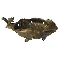 Pairpoint Silver Company Nut Bowl With Squirrel Figurine Circa 1902