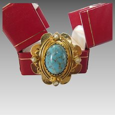 Vintage Original by Robert Goldtone Pin With Faux Turquoise Center and Faux Pearl Accents