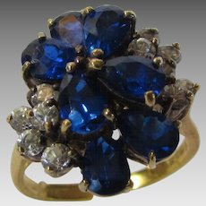 Sterling Silver Gold Wash Ring With Deep Blue and Clear Crystals