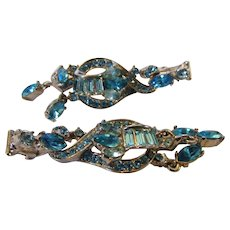 Vintage Mid Century Modern Hollycraft Goldtone With a Variety of Aqua Blue Toned Crystals