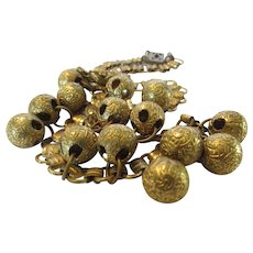 Vintage Brass Necklace With 14 Textured Brass Ball Accents