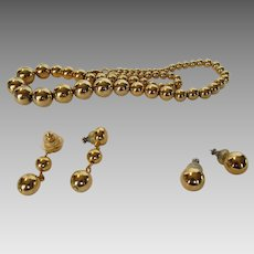Vintage Napier With Goldtone Bead Necklace and Two Matching Pair Of Pierced Earrings