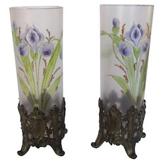 Pair of Frosted Clear Art Glass Vases in Bronzed Metal Mounts by Repose