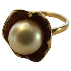 Vintage Cultured Pearl in a Gold Filled Ring