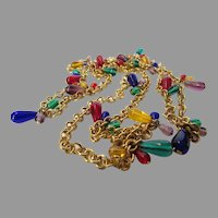 Vintage Joan Rivers Goldtone Chain With Gem Colored Crystal Drops