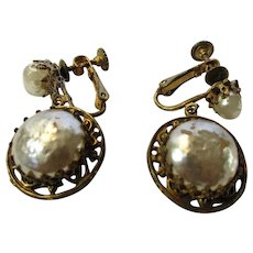Vintage Signed Haskell Faux Pearl Clip Earrings in Russian Goldtone